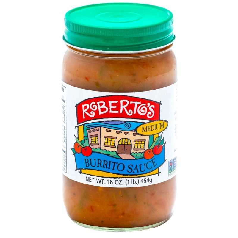 Roberto's organic Colorado homemade burrito sauce is perfect for wet burritos. This medium spicy sauce is meant to pour on Mexican food and recipes. 16 ounce jar.