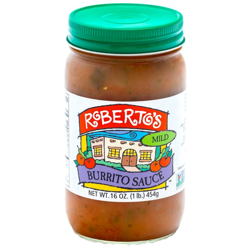 Roberto's organic Colorado homemade burrito sauce is perfect for wet burritos. This mild spicy sauce is meant to pour on Mexican food and recipes. 16 ounce jar.