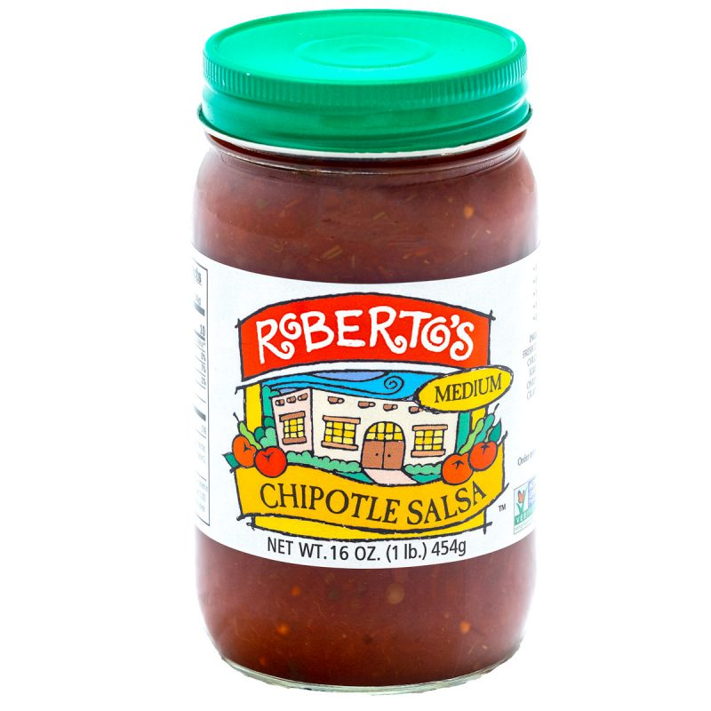 Roberto's organic homemade Colorado chipotle salsa made in the high rocky mountains. This salsa is fresh, organic, and medium spicy. 16 ounce jar.