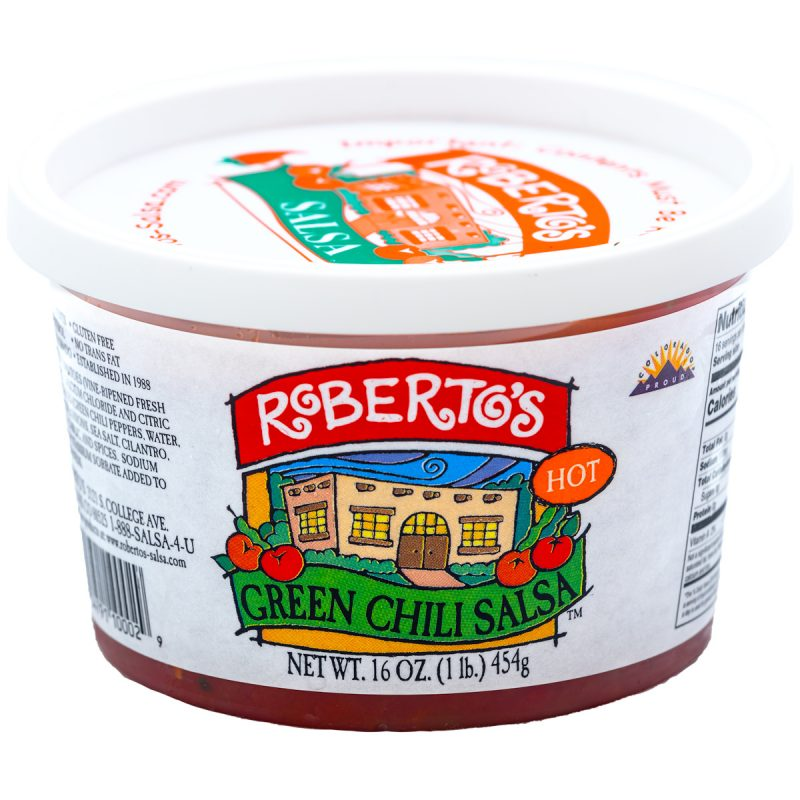 This Roberto's organic mild green chili salsa is red in color but homemade in colorado within the high rocky mountains by the Roberto's family. This salsa is hot and spicy. 8 ounce jar.