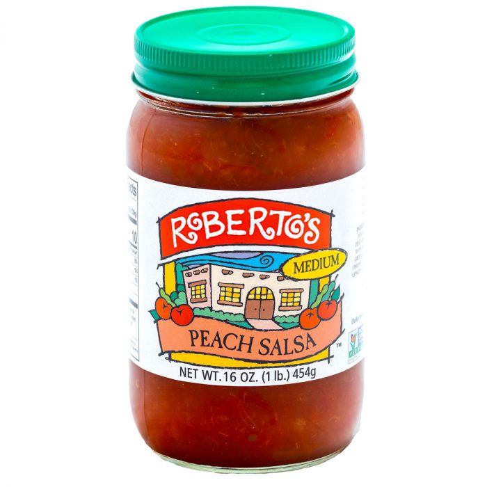The homemade organic Roberto's peach salsa is made in the high rocky mountains with fresh peaches. It is medium spicy but fruity and sweet. The perfect balance. 8 or 16 ounce jar.