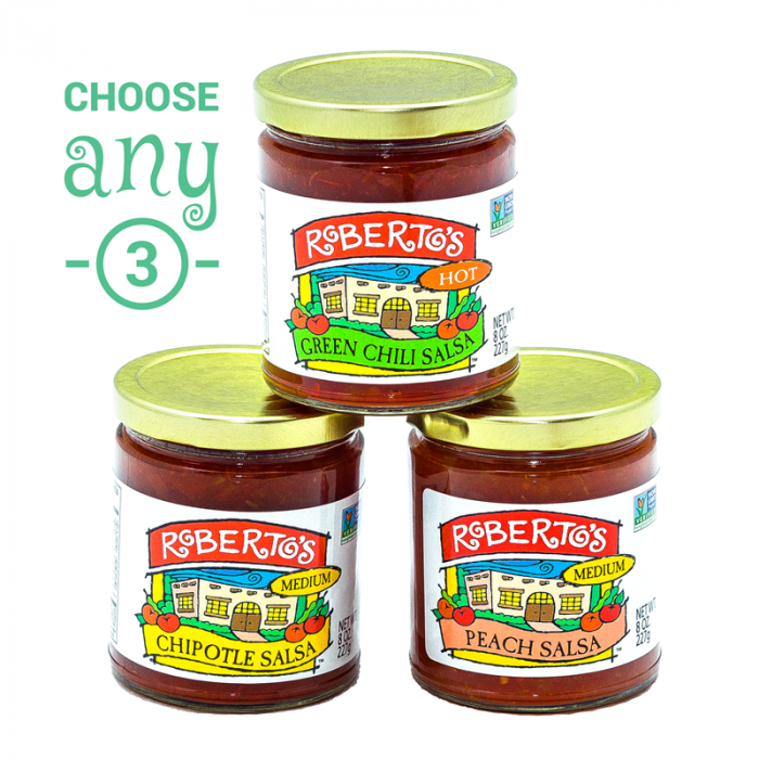Roberto's homemade Colorado Salsa choose any three eight ounce jar option. Great for a party pack. 8 ounce jars only.