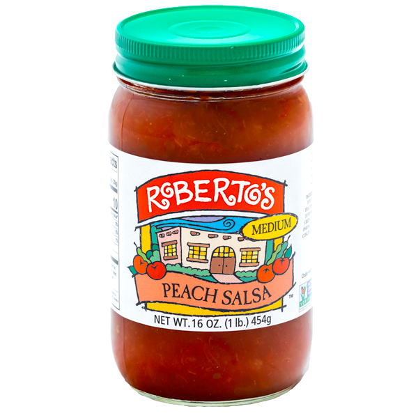 The homemade organic Roberto's peach salsa is made in the high rocky mountains with fresh peaches. It is medium spicy but fruity and sweet. The perfect balance. 16 ounce jar.