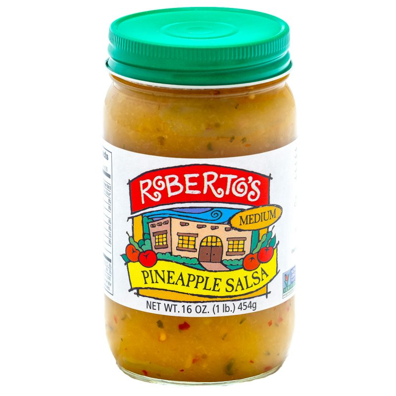 Roberto's fresh, fruity, and homemade pineapple salsa homemade in colorado by the roberto's family. It is medium spicy but not too hot. Made with organic ingredients. 8 or 16 ounce jar.